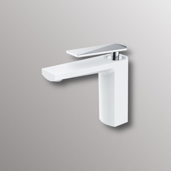 water faucet in white and chrome