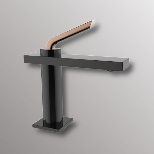 bathroom faucet in black with gold handle