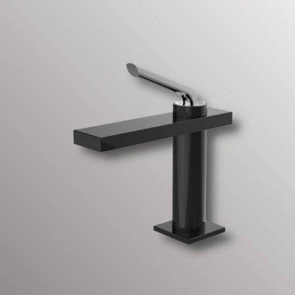 bathroom faucet in black with chrome handle