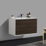 Double drawer 36'' bath vanity Gray Oak finish