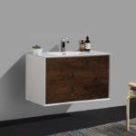 Double drawer 36'' bath vanity Rose Wood finish