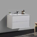 Double drawer 36'' bath vanity Gloss White finish