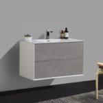 Double drawer 36'' bath vanity Gray Stone finish