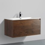Double drawer 36'' bathroom vanity Rose Wood finish