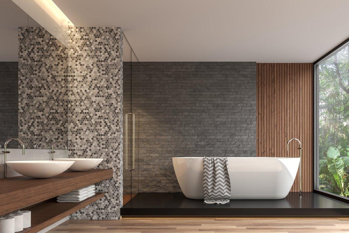 modern kicteh and bathroom at Fusion Home Corp.