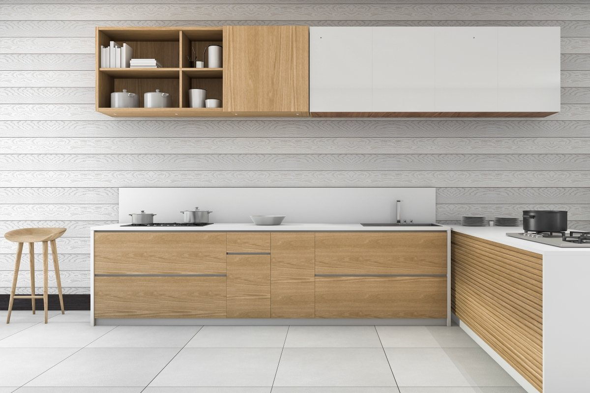 modern kitchen and bathroom at Fusion Home Corp.