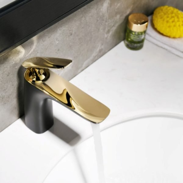 bath sink cabinet in black and gold