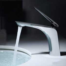 chrome bathroom faucet