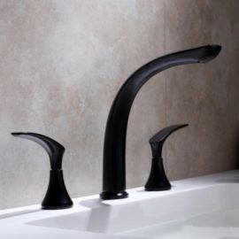 double bathroom faucet in black finish