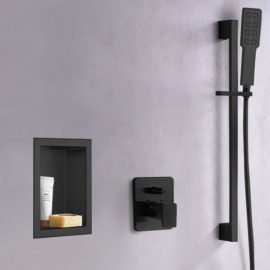matte black shower niche