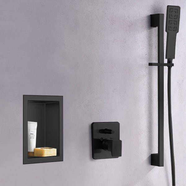 matte black shower niche