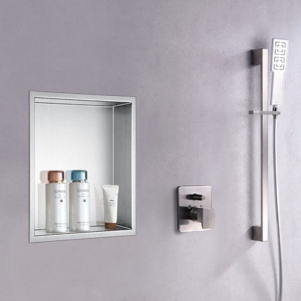 built in shower shelf niche