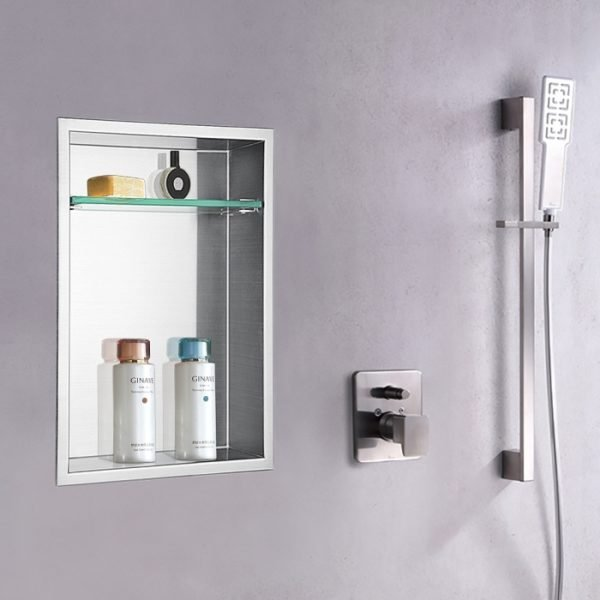 recessed shower shelf niche