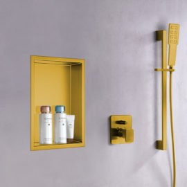 matte gold shower wall niche