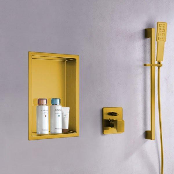 matte gold shower wall niche