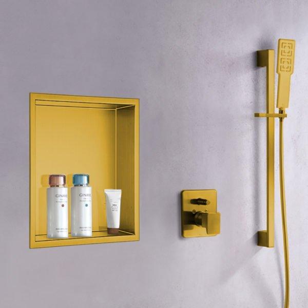 matte gold built in shower niche