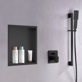 matte black built in shower niche