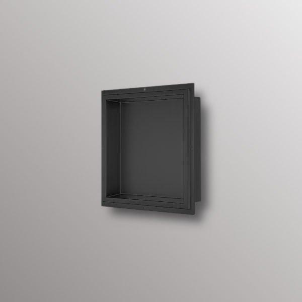 matte black built in shower niche