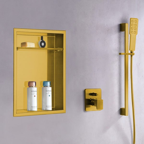 matte gold recessed shower niche