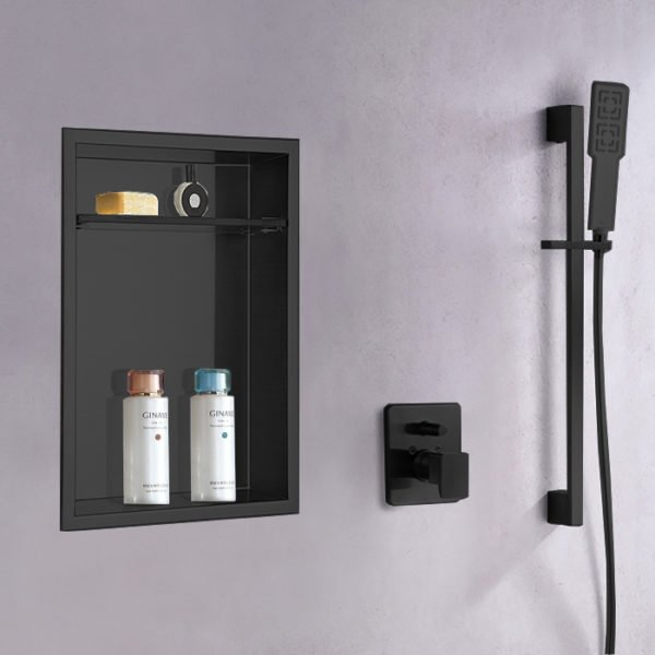 matte black recessed shower niche