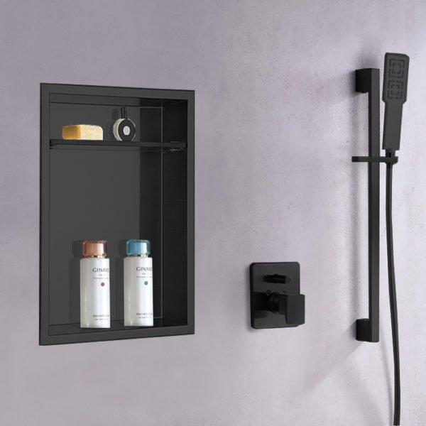 matte black recessed shower niche