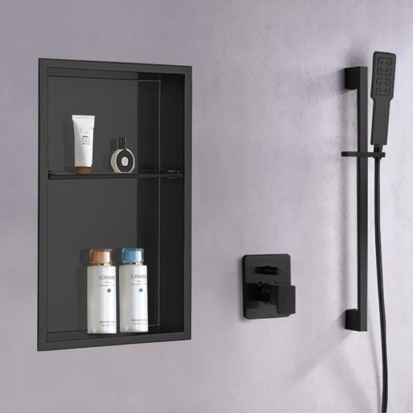 steel matte black shower niche