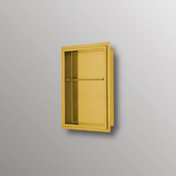stainless steel matte gold shower niche