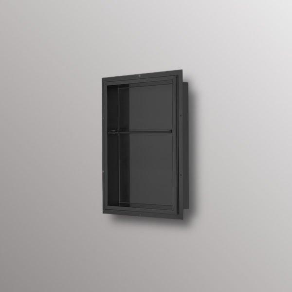 steel matte black shower niche