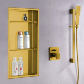 shower niche in matte gold