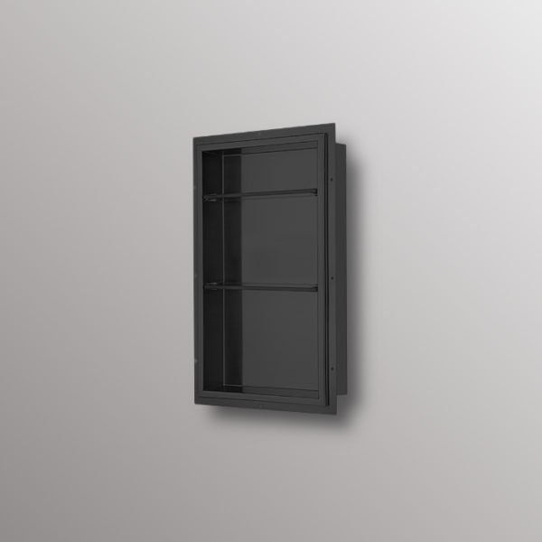 shower niche in matte black