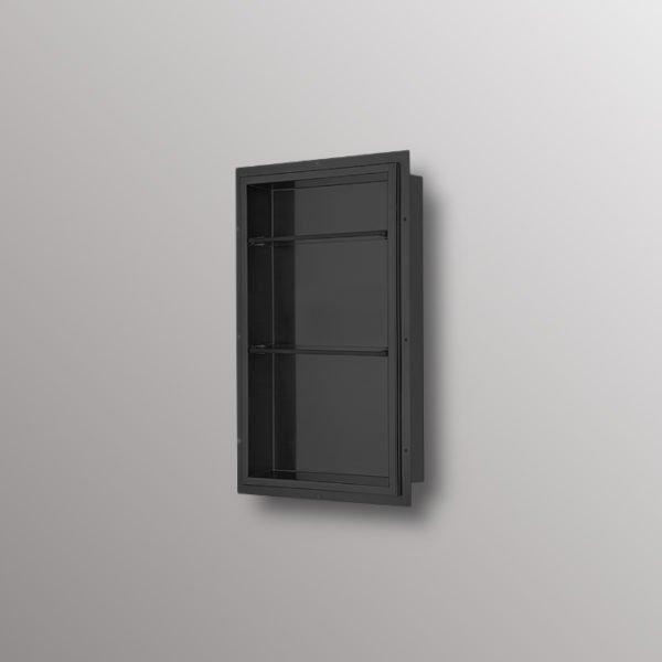 shower niche in matte black