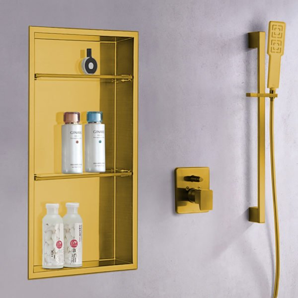 wall shower niche in matte gold finish