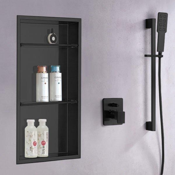 wall shower niche in matte black