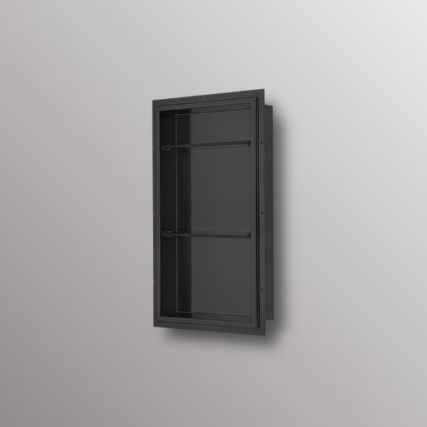 wall shower niche in matte black