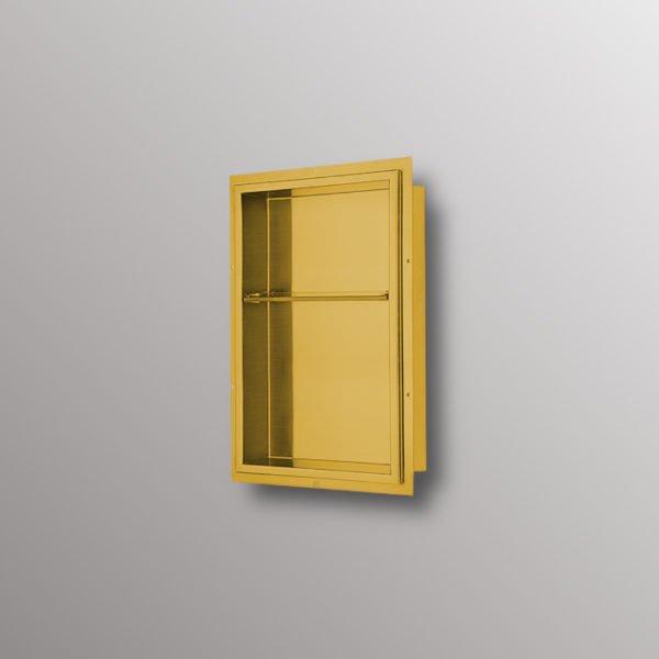 stainless steel matte gold shower niche