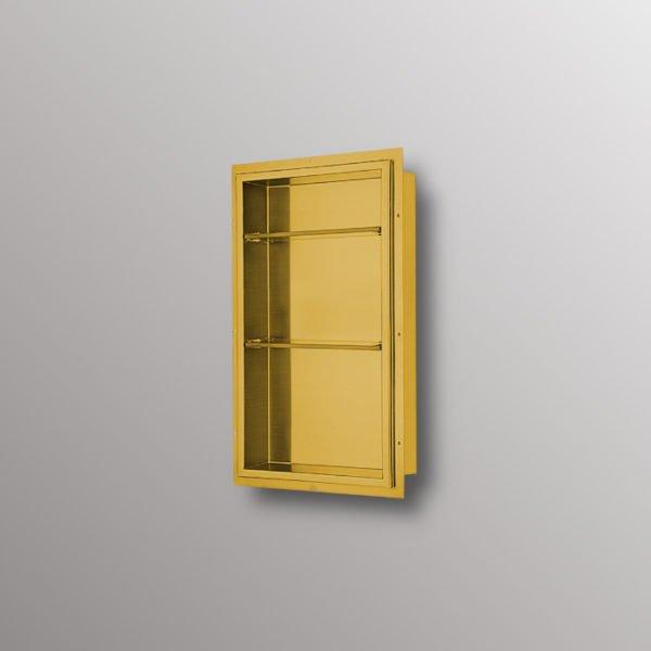 shower niche in matte gold
